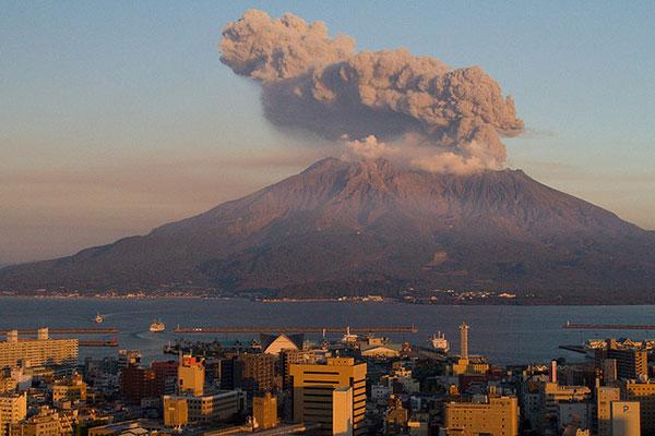 Núi lửa Sakurajima tại tỉnh kagoshima